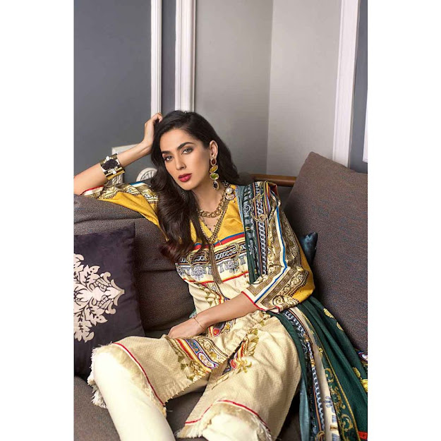 Gul Ahmed yellow color suit luxury shaleen collection