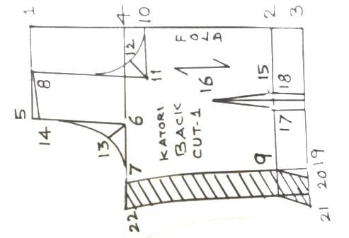 Draft details of Back part of Katori blouse