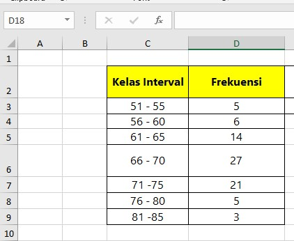 Menentukan Modus Data Kelompok di Excel