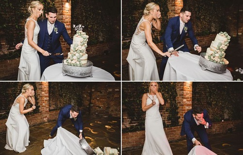 Wedding disaster as couple's £450 cake topples onto floor as they cut it.. but it's nothing serious to them