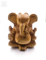 Hand Carved Lord Ganesha Wooden Idol Sculpture Home Decorative Figurine(Brown)