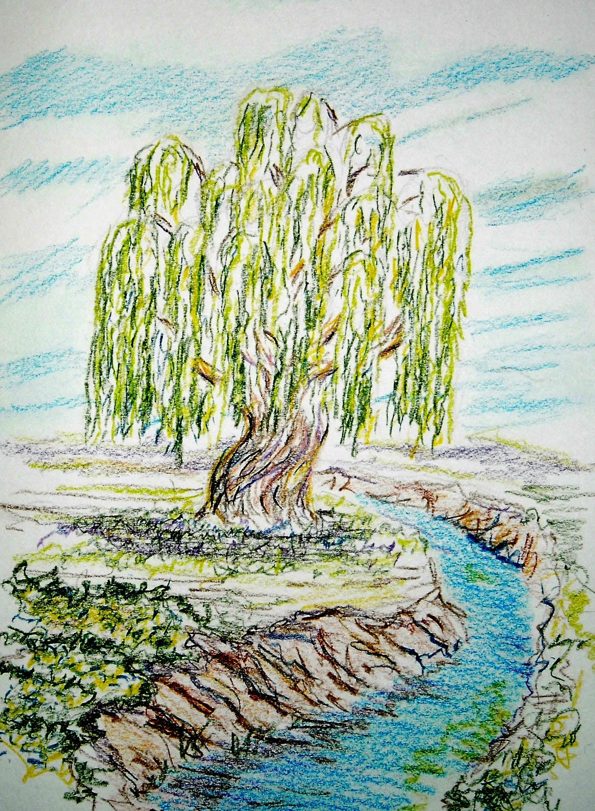 How to Draw Worksheets for The Young Artist: How to Draw a Willow Tree.