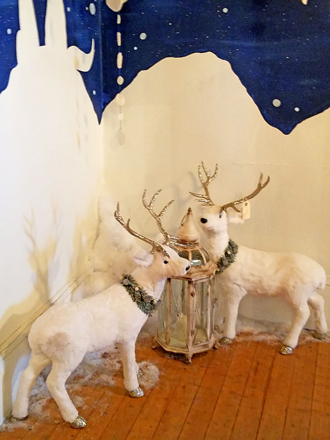 white deer winter decor