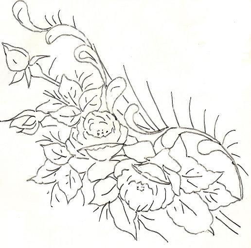 pintura em tecido flores risco rosas