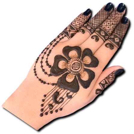 Back hand flower mehndi design