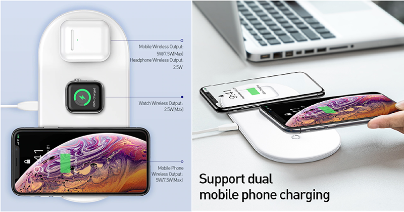 It supports three different devices or two mobile phones