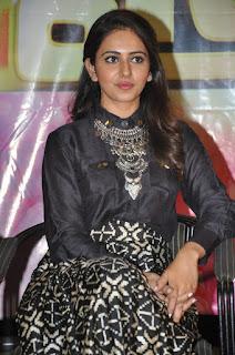 Actress Rakul Preet Singh Stills in Black Dress at Memu Saitham Event Press Meet  0032