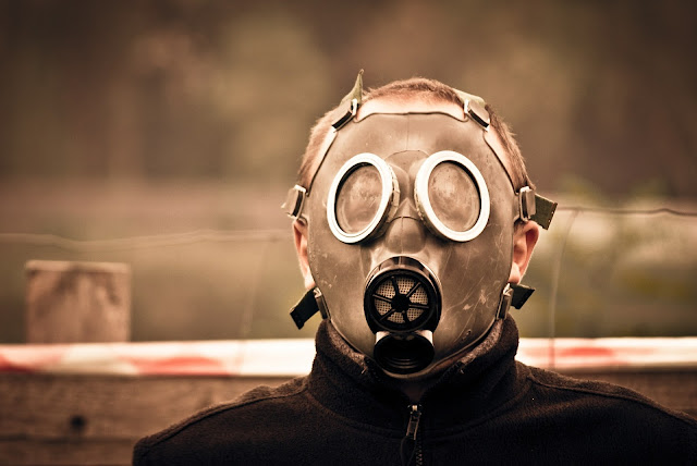 Man with a gasmask