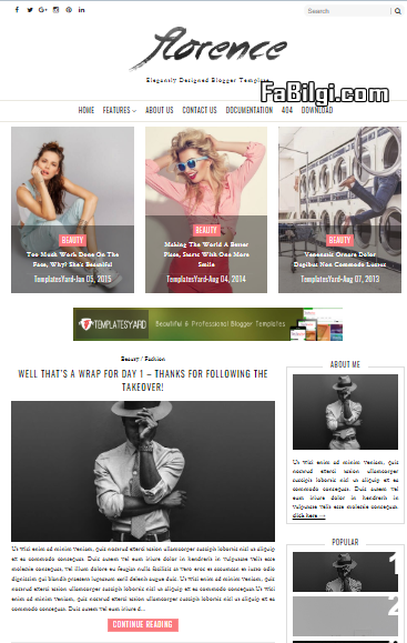 Blogger Moda Stil Sitesi Teması İndir 2020 Mobil Uyumlu - Florence