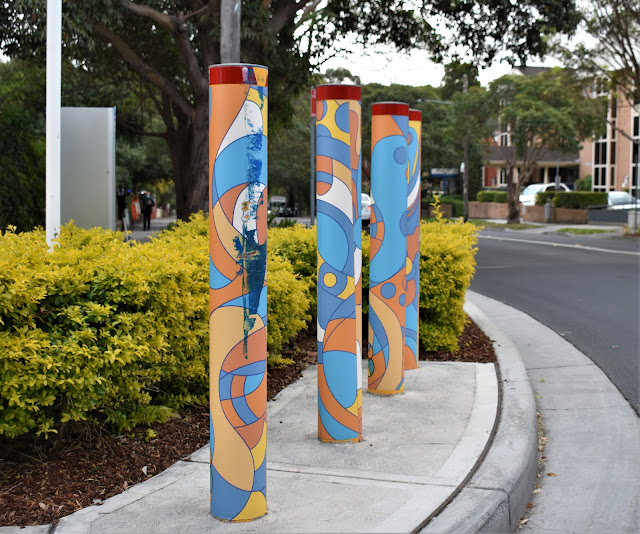 Strathfield Public Art | Painted bollards by Mike Watt