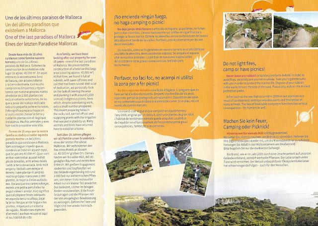 Panfleto para conservação da praia, Caló des Moro.