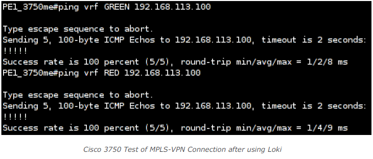 Cisco 3750 Test of MPLS-VPN Connection after using Loki