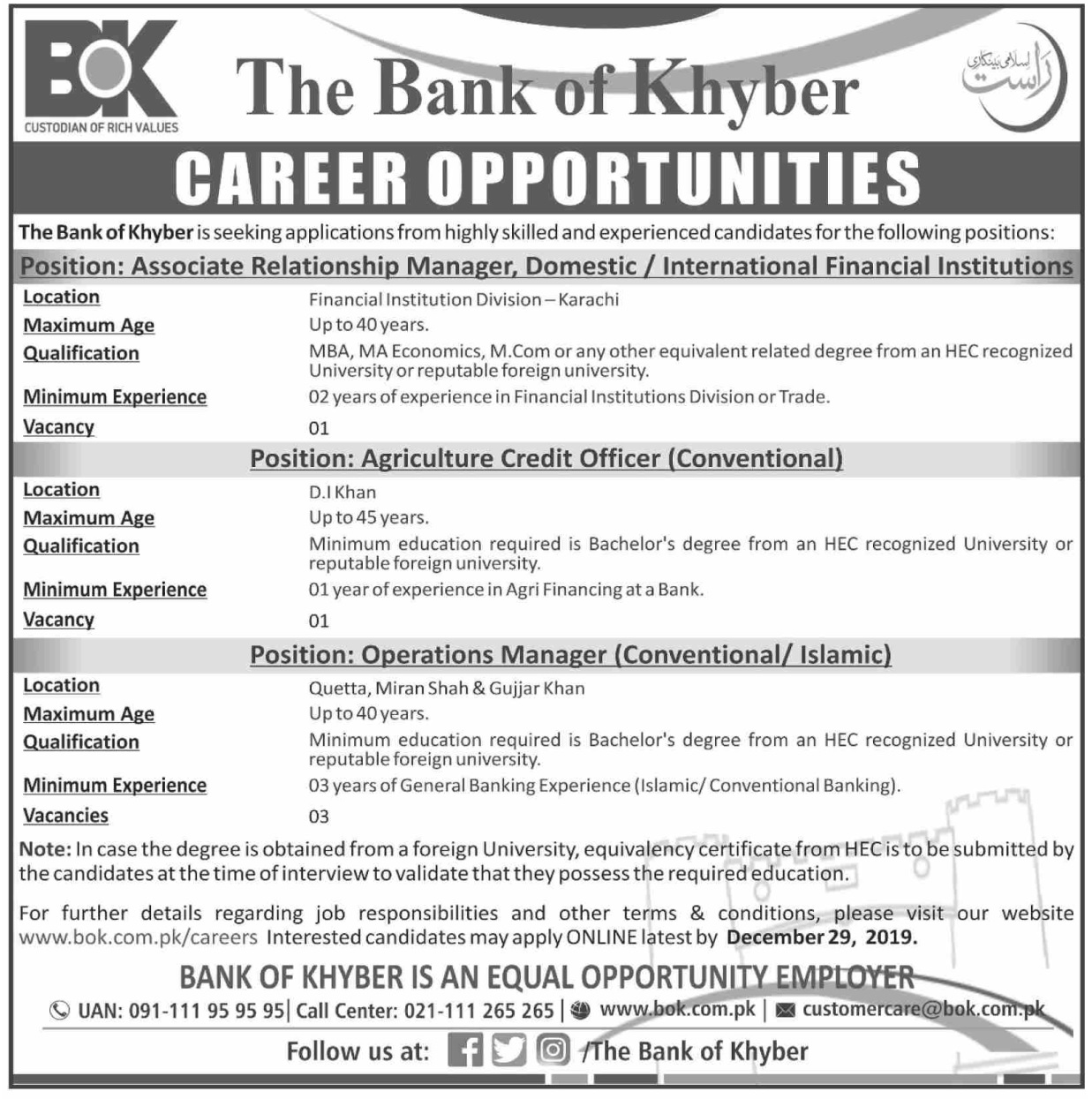 The Bank of Khyber BoK Management Jobs 2020 Latest