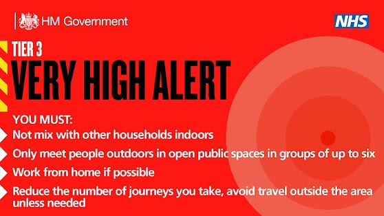 Tier 3 VERY HIGH ALERT UK Government tiers Dec 2020