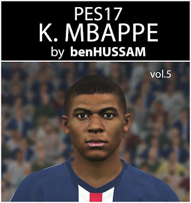 PES 2017 Mbappe Face by benHUSSAM FaceMaker