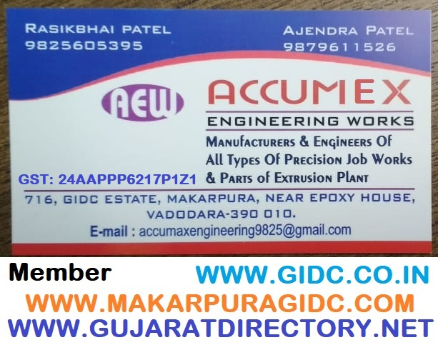 ACCUMEX ENGINEERING WORKS - 9879611526 | 9825605395 GSTIN: 24AAPPP6217P1Z1