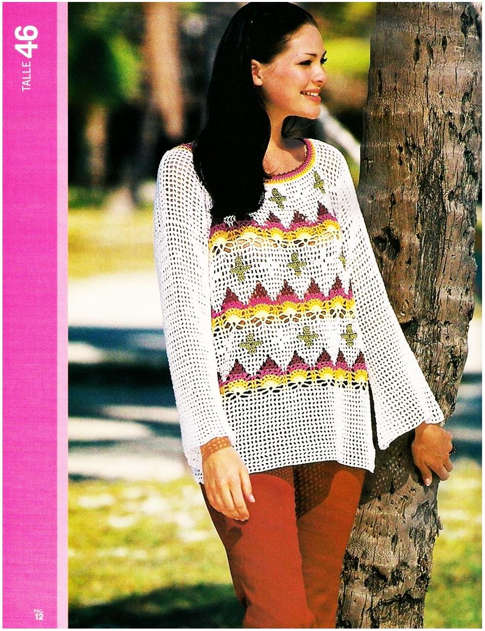 suéter, jersey, crochet, ganchillo, motivos ananas, patrón