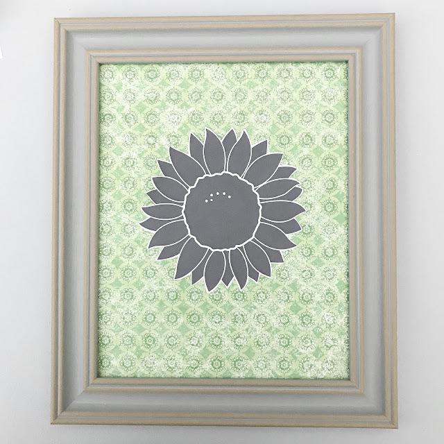 Framed black sunflower