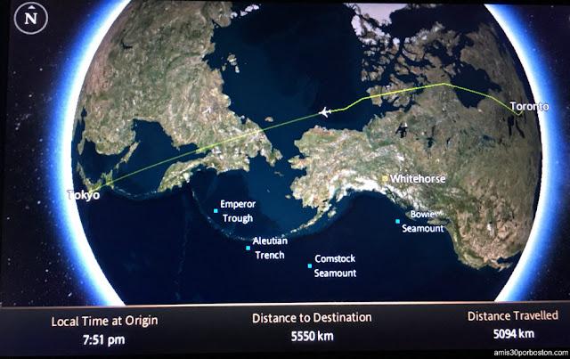 Pantalla Avión en el Vuelo de Toronto a Tokio