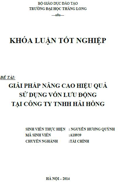 Giải pháp nâng cao hiệu quả sử dụng vốn lưu động tại Công ty TNHH Hải Hồng