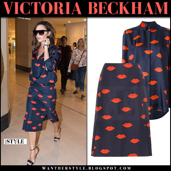 Victoria Beckham in navy blue lip print shirt and midi skirt what she wore may 14 2017