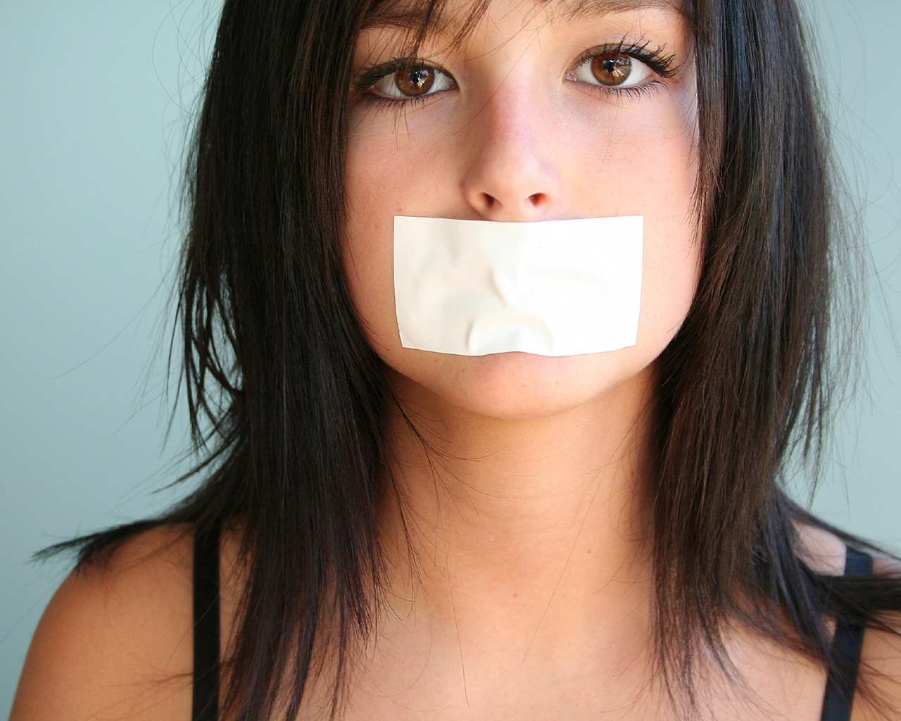 Girl With Mouth Taped Shut Wallpaper I Should Have Said Something I Should Have Said
