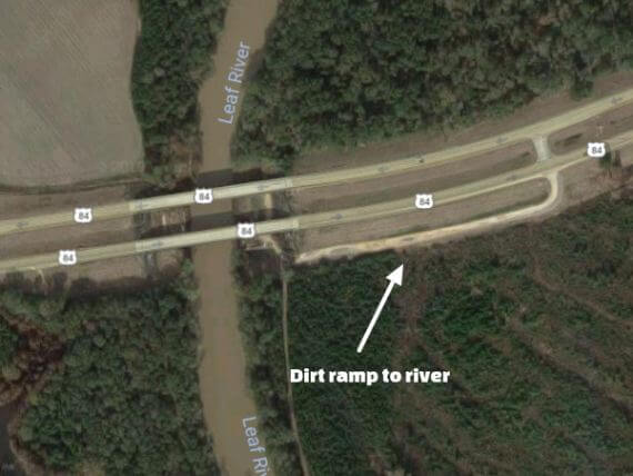 Satellite photo of bridge with river access