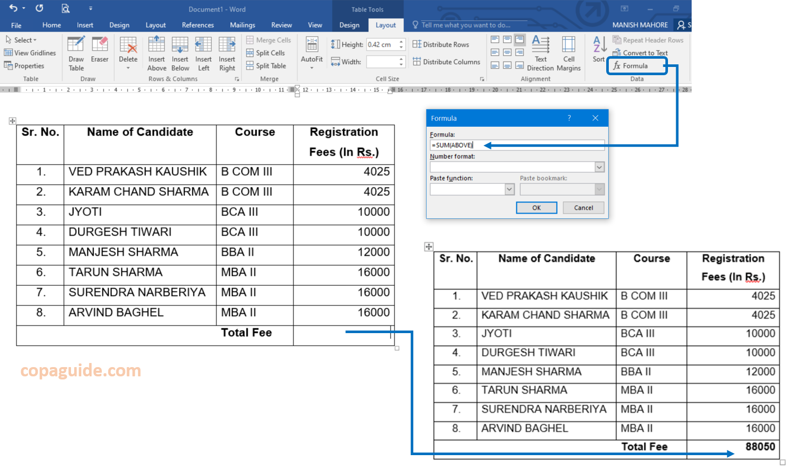 Insert Formula in Table MS-Word Hindi Notes