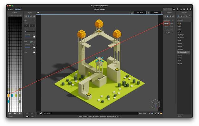 View materials in MagicaVoxel