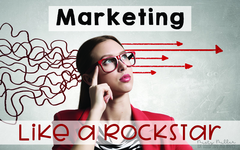 Title on image - Marketing Like a Rockstar, Image of woman thinking