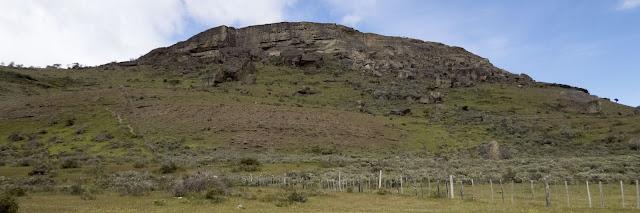 Hill with Andean Condor nests near Lago Sofia in Chile