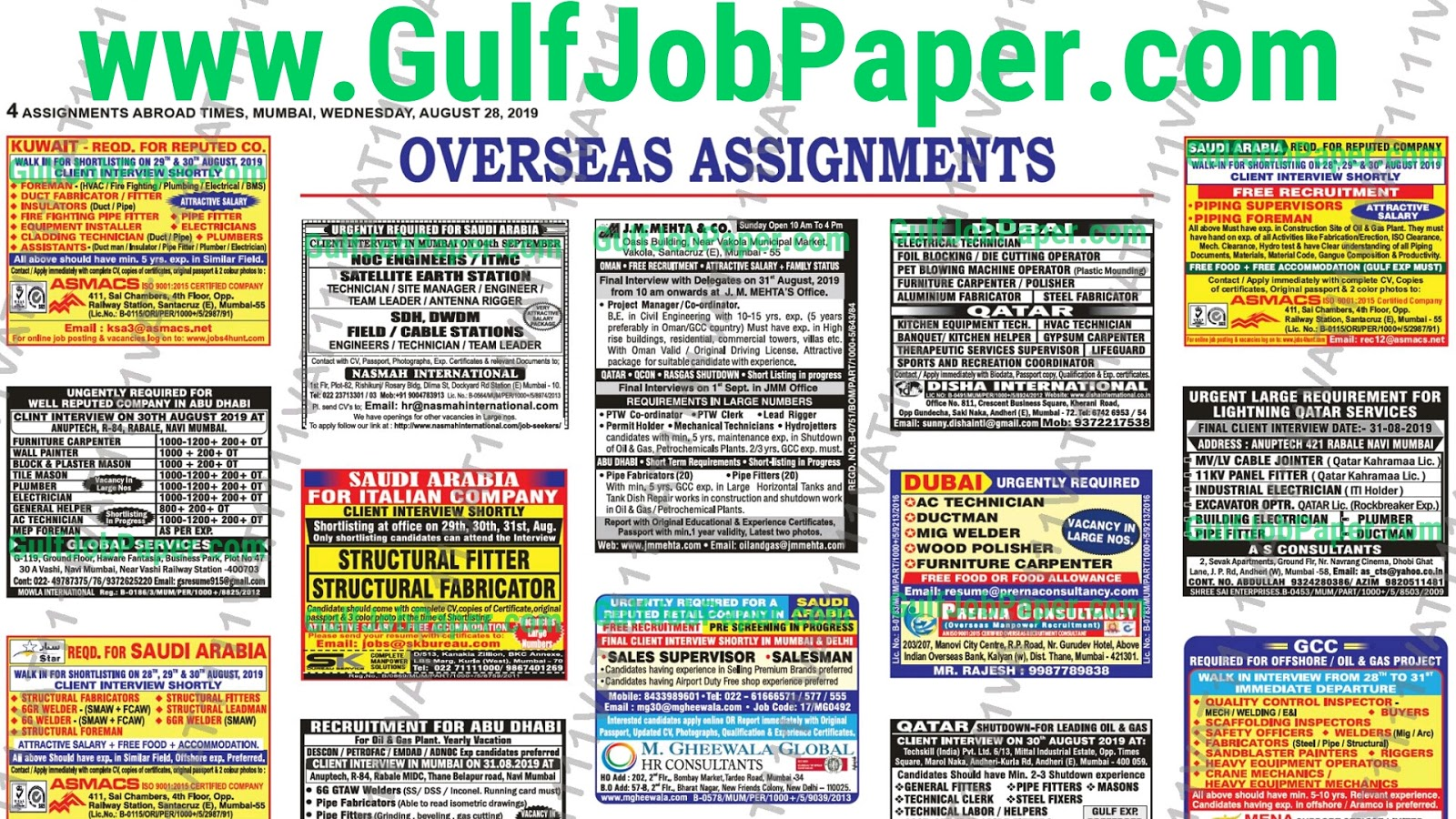 Assignment Abroad Times 14th August 2019