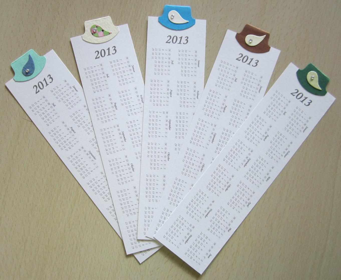 Diamantin´s Hobbywelt: Kalender-Lesezeichen