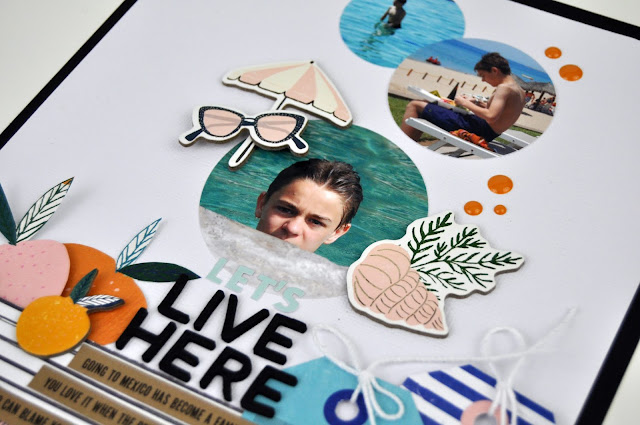 """Let's Live Here"" Scrapbooking Layout by Jen Gallacher feautring a scrapbooking process video. #scrapbooking #scrapbooker #jengallacher #cratepaper"