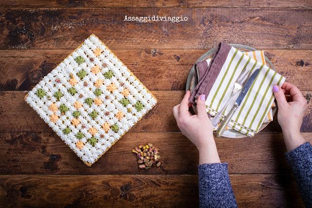 Quiche con zucca arrosto, frangipane ai pistacchi e mousse di caprino