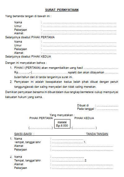 Contoh Surat Pernyataan Bersama