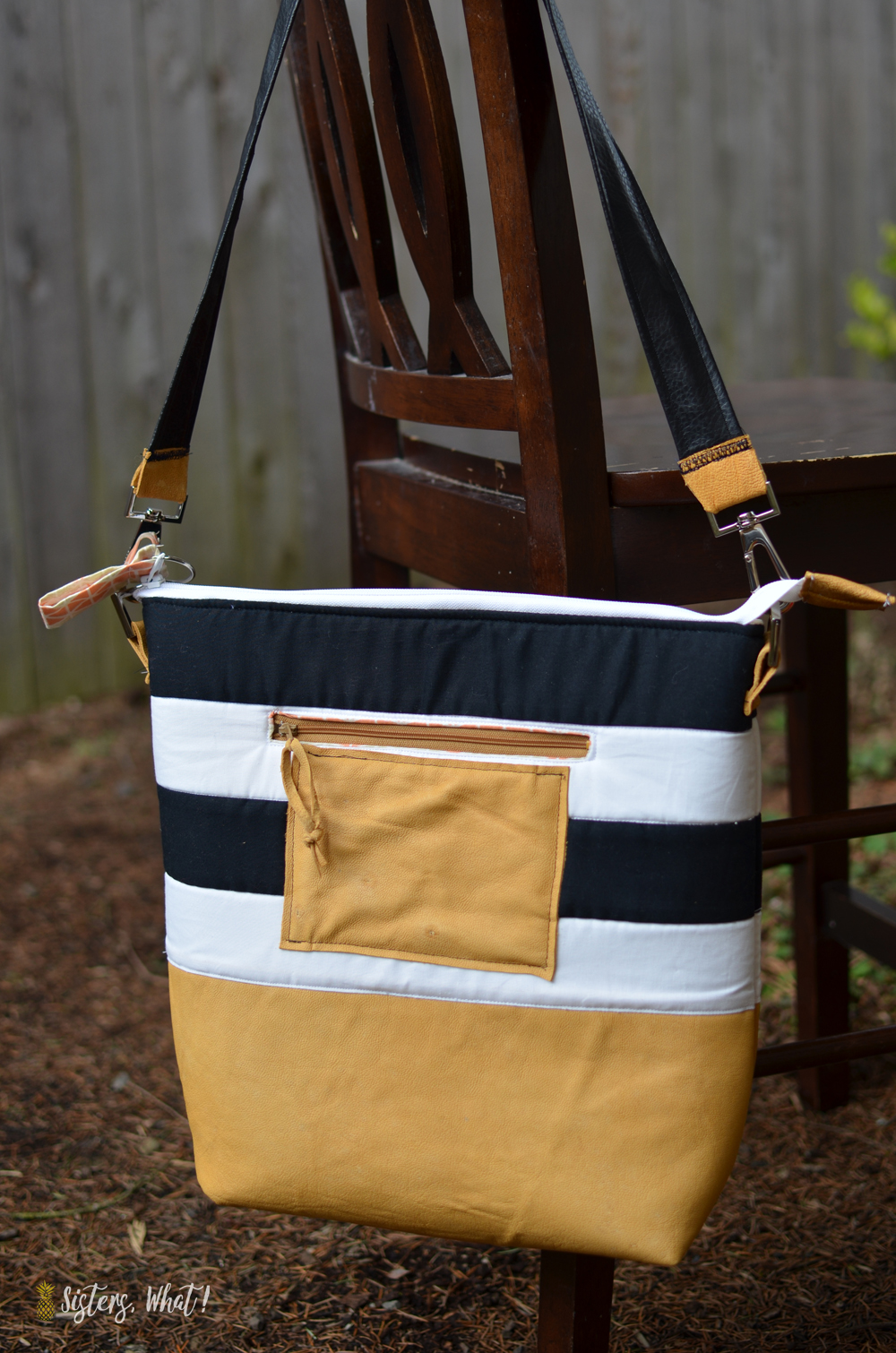 Striped leather bag tutorial out of leather and black and white fabric