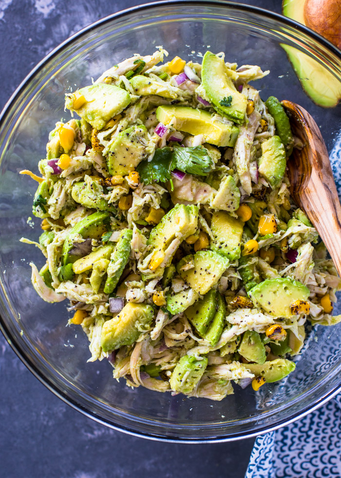 Avocado Chicken Salad - Take chicken salad to a new level with the addition of avocado. This naturally creamy chicken and avocado salad is healthy and contains no mayo or sour cream. Ever since I tried avocado in a grilled