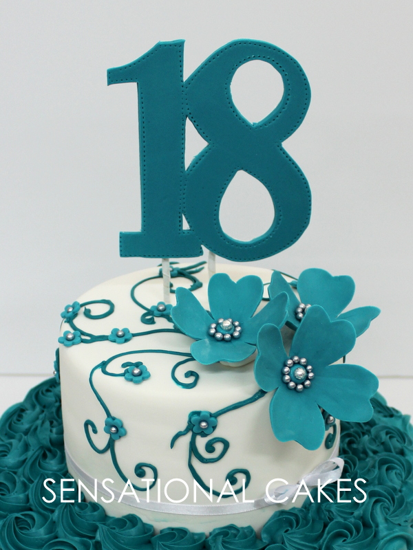 The Sensational Cakes 2 Tier 18th Birthday Turquoise Floral Cake