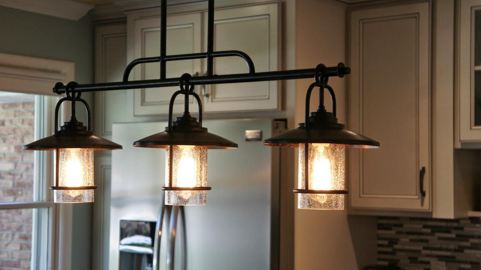 Kitchen Island Light Fixture Triple Bowl Sink Fixtures Pendant Over
