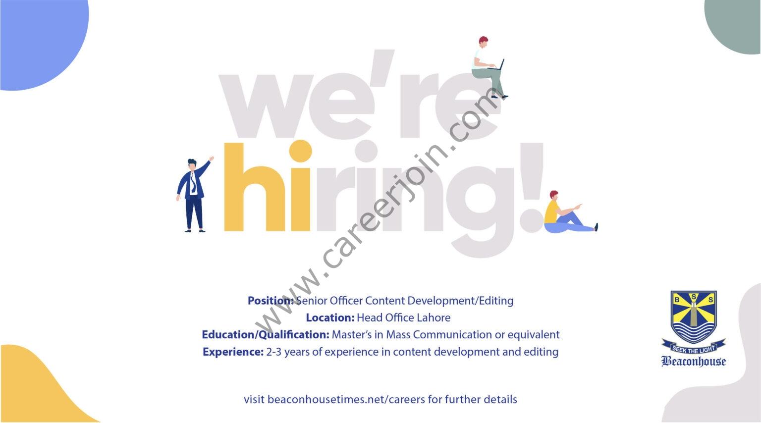 Beaconhouse Group Jobs Senior Officer Content