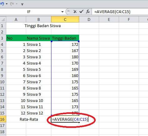 cara menghitung rata rata di excel 2010
