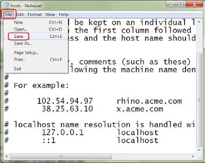 Edit Hosts File in Windows 7