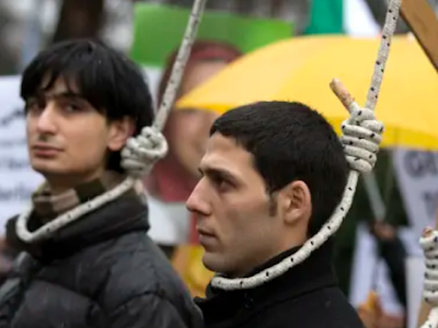 IRAN PUBLICLY HANGS MAN ON HOMOSEXUALITY CHARGES