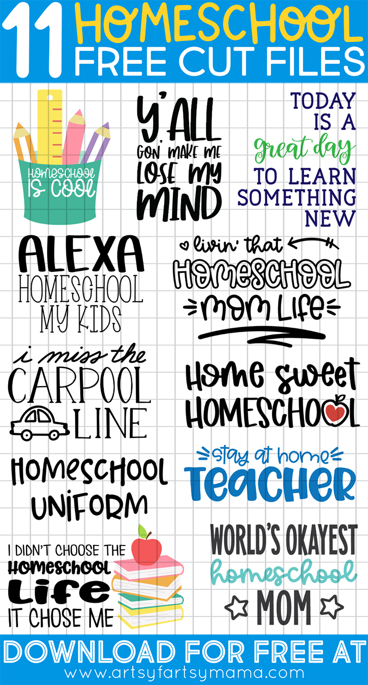 11 Free Homeschool SVG Cut Files