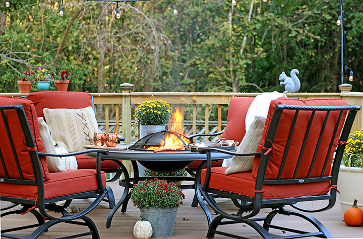 outdoor furniture set with firepit