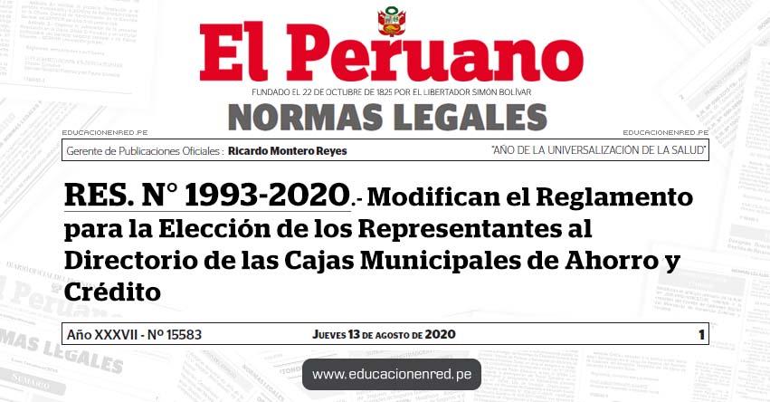 RES. N° 1993-2020.- Modifican el Reglamento para la Elección de los Representantes al Directorio de las Cajas Municipales de Ahorro y Crédito