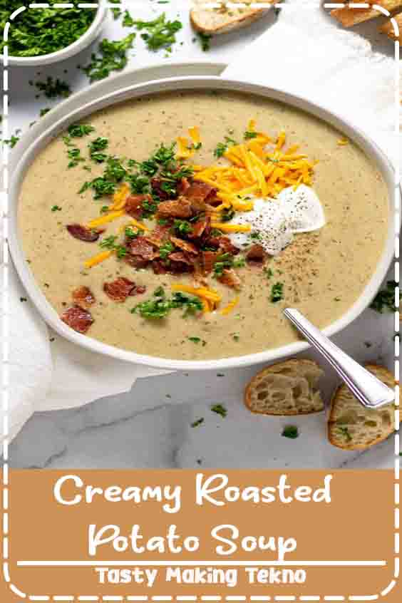 This dreamy creamy potato soup is loaded with bacon roasted Yukon gold potatoes along with roasted garlic and dried herbs – giving you the very easiest loaded baked potato inspired dinner ever! The best part is that it's mostly hands-off cooking time which makes it totally possible on a busy weeknight!