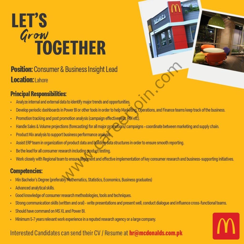 hr@mcdonalds.com.pk - McDonald's Pakistan Jobs 2021 in Pakistan