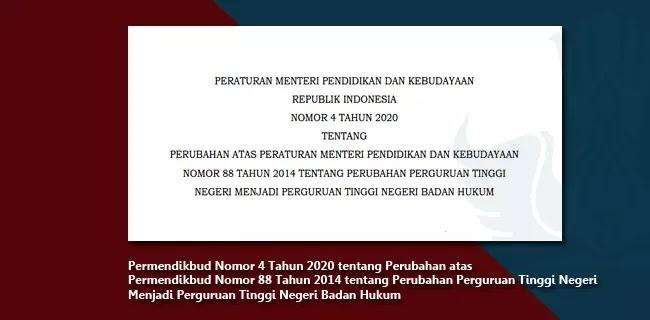 Permendikbud Nomor 4 Tahun 2020 tentang Perubahan atas Permendikbud Nomor 88 Tahun 2014 tentang Perubahan Perguruan Tinggi Negeri Menjadi Perguruan Tinggi Negeri Badan Hukum